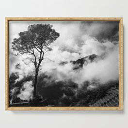 Black & White tree in the clouds Serving Tray