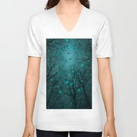 mint V-neck T-shirts featuring One by One, the Infinite Stars Blossomed by soaring anchor designs