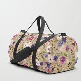 Modern blush pink purple green elegant floral leaves Duffle Bag