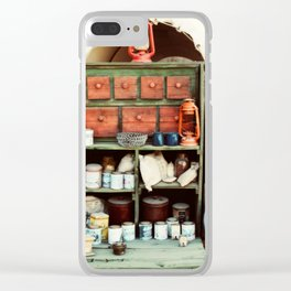Dry goods at the end of a pioneer wagon Clear iPhone Case