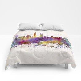 Shenzhen skyline in watercolor background Comforters