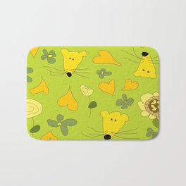 Yellow Mice Hearts and Flowers Digital Love Art Bath Mat