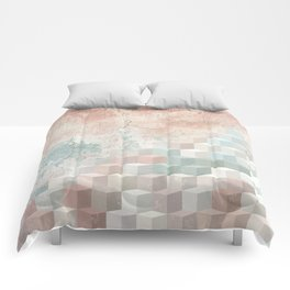 Distressed Cube Pattern - Nude, turquoise and seashell Comforters