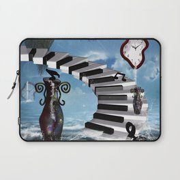 Piano on the beach with clef Laptop Sleeve