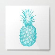 Teal Pineapple Metal Print