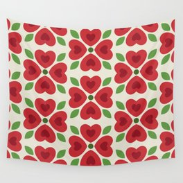Christmas Heart Flowers Wall Tapestry