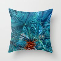 palm tree Throw Pillows featuring Palm Tree by DistinctyDesign