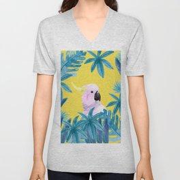 Tropical Cockatoo with Illuminating Background Unisex V-Neck