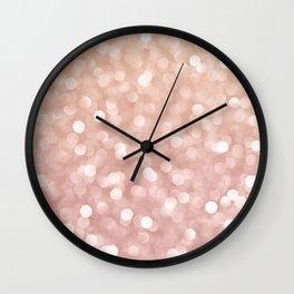 Rosegold Glitter Bokeh Glam Pattern Wall Clock