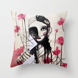 Frontal Roses Throw Pillow