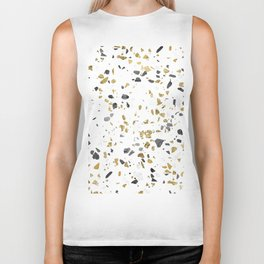 Black and Gold Terrazzo White Marble Biker Tank