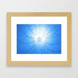 Spider Web - Blue Framed Art Print