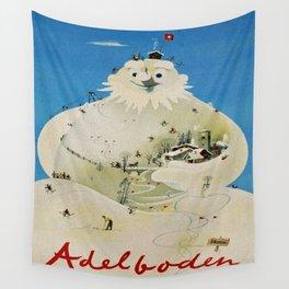 Vintage Adelboden Switzerland Travel Poster - Snowman Wall Tapestry