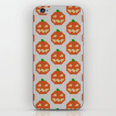 Knitted halloween pumpkin pattern iPhone & iPod Skin