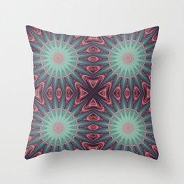 Mauve & teal starburst Mandala Throw Pillow
