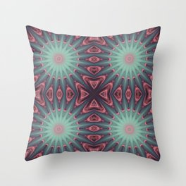 Mauve & teal starburst Mandala Throw Pillow