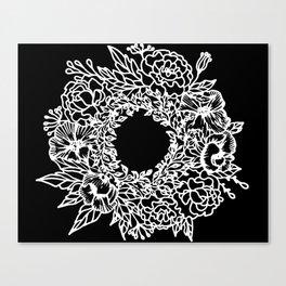 White Linocut Flowery Wreath On Black Canvas Print