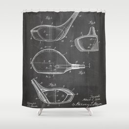 Golf Driver Patent - Golf Art - Black Chalkboard Shower Curtain