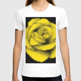 Yellow Rose Halftone on Black T-shirt