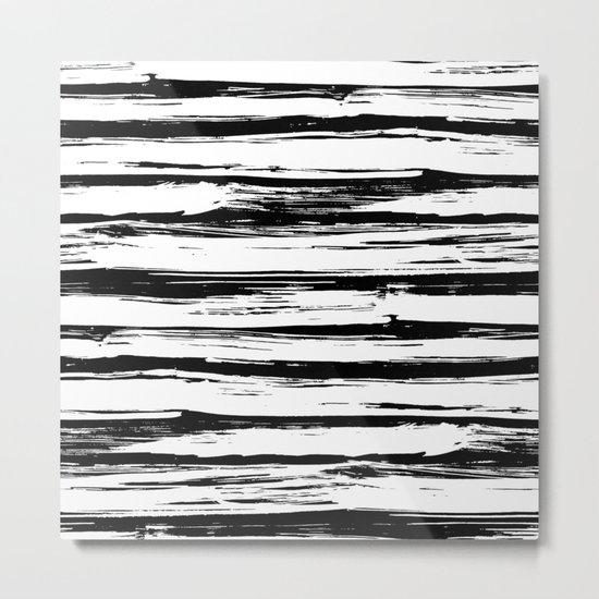 Stylish Black and White Paint Stripes Metal Print