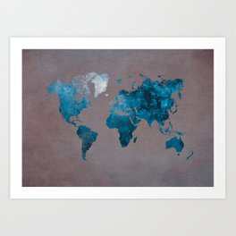 world map 104 blue #worldmap #map Art Print