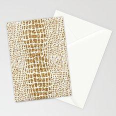 Gold Glitter Alligator Print Stationery Cards