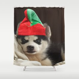 Husky Puppy Elf Shower Curtain