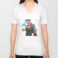 dentist V-neck T-shirts featuring Hippopotamouth by Oliver Lake