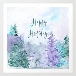 Watercolor Happy Holidays Winter Wonderland Art Print