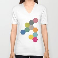 honeycomb V-neck T-shirts featuring Honeycomb I by Cassia Beck