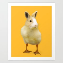 Easter Rabbit Duckling Art Print