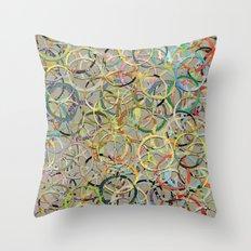 Rainbow Circles Collage Throw Pillow