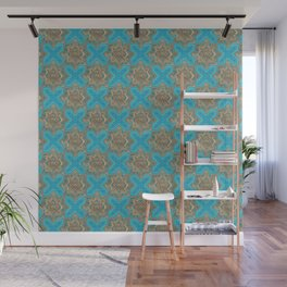 Oriental Tile pattern - Golds and TealOriental Tile pattern - Golds and Teal Wall Mural