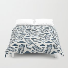 The Hawk's Flight_ Beige and Blue Duvet Cover