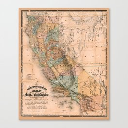 Map Of California 1861 Canvas Print