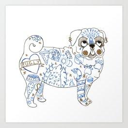 Pug Rock Art Print
