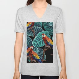 tropical leaves macaw pattern 2 Unisex V-Neck
