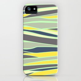banana, mint and gray stripes  iPhone Case