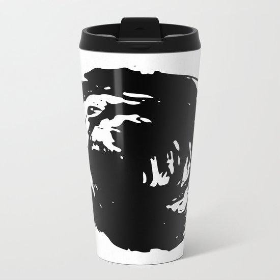 Whorl Black on White Metal Travel Mug
