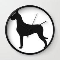 great dane Wall Clocks featuring Great Dane by Megan Clark