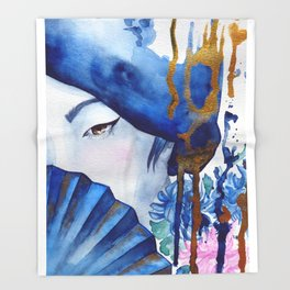 blue geisha Throw Blanket