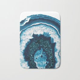 Blue White Agate with Blue Glitter #1 #gem #decor #art #society6 Bath Mat