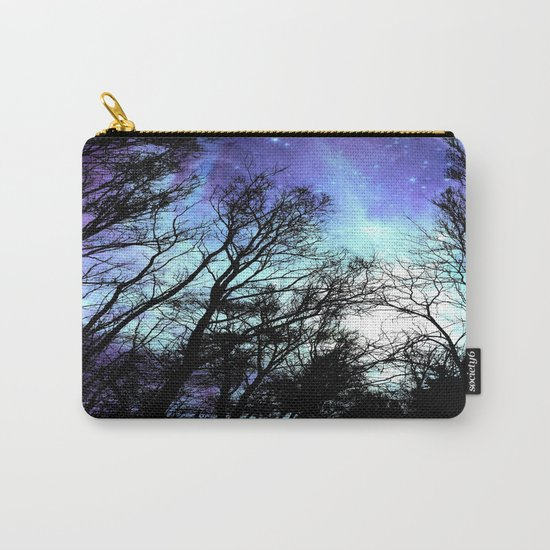 black trees periwinkle blue aqua space Carry-All Pouch