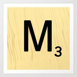 Scrabble M Decor, Scrabble Art, Large Scrabble Tile Initials Art Print