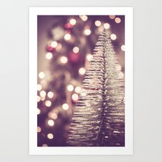 Seasons Greetings 1 -- Muted Soft Lights and Sparkle Art Print
