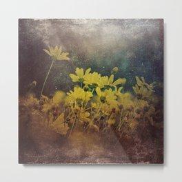 Abstract Yellow Daisies Metal Print