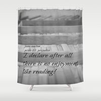 jane austen Shower Curtains featuring Jane Austen Reading by KimberosePhotography