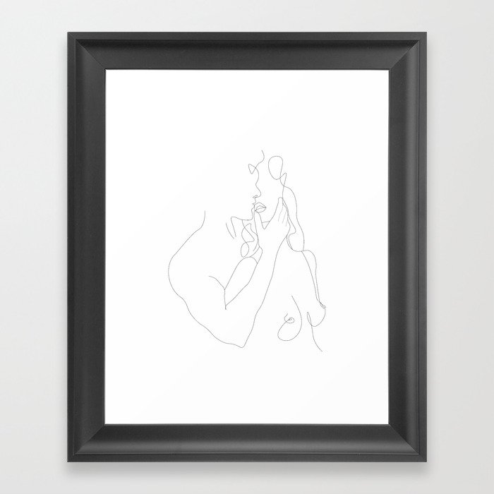 Couple - Minimal Line Drawing Framed Art Print