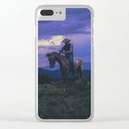 Santa Fe Cowboy on Horse With Teepee Clear iPhone Case