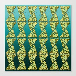 Chartreuse Leaf Triangles Ombre Teal Canvas Print